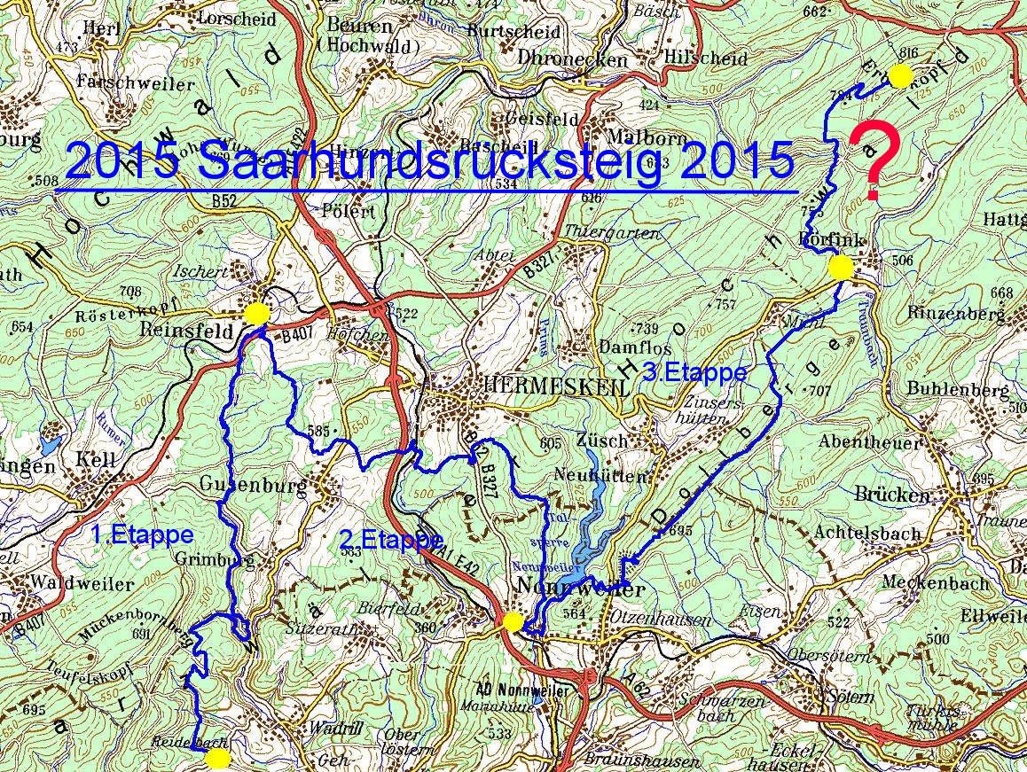Hunsrück Hochwald Karte.Saar Hunsrücksteig