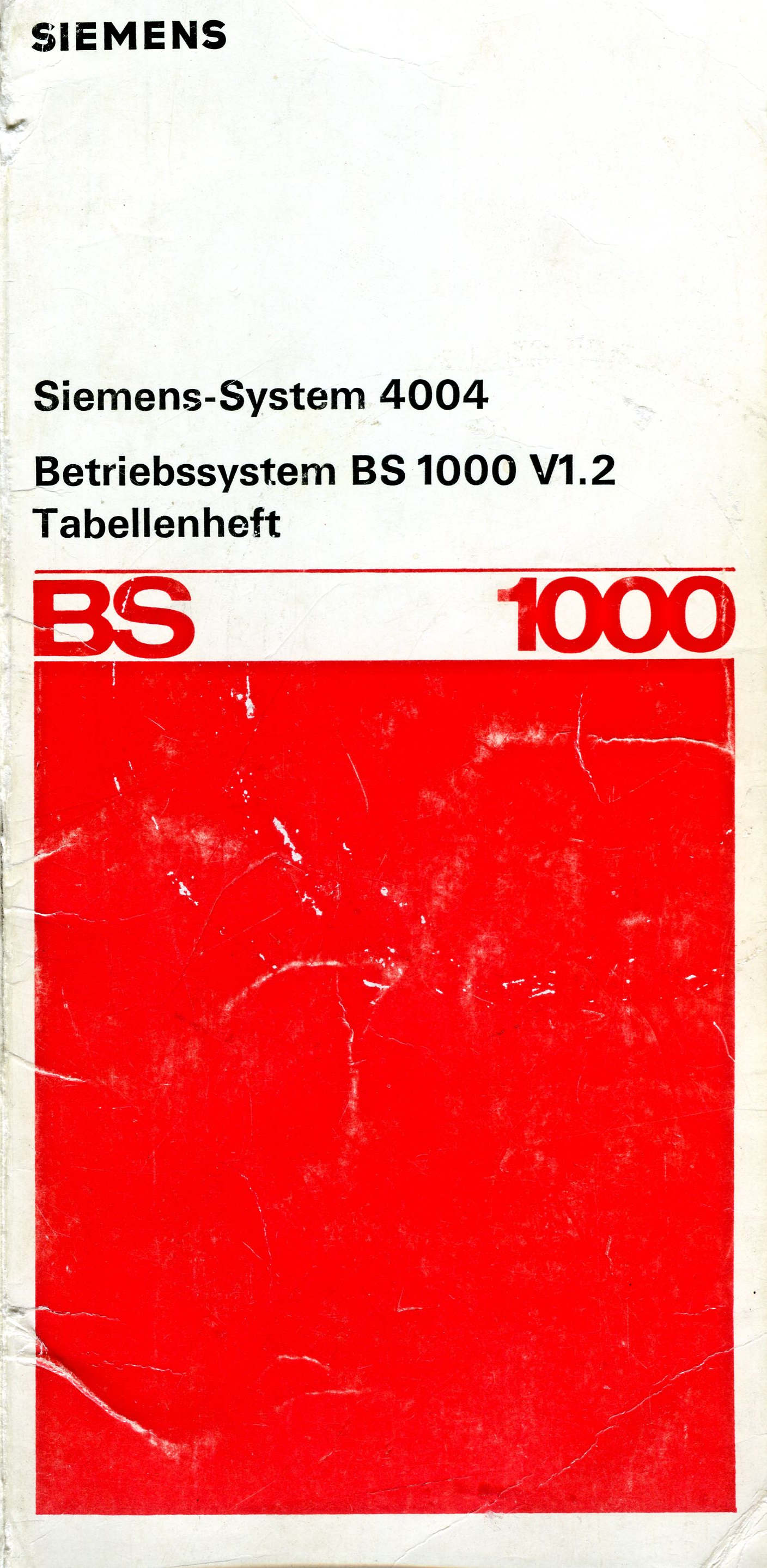 Tabellenheft BS1000 V1.2 1974