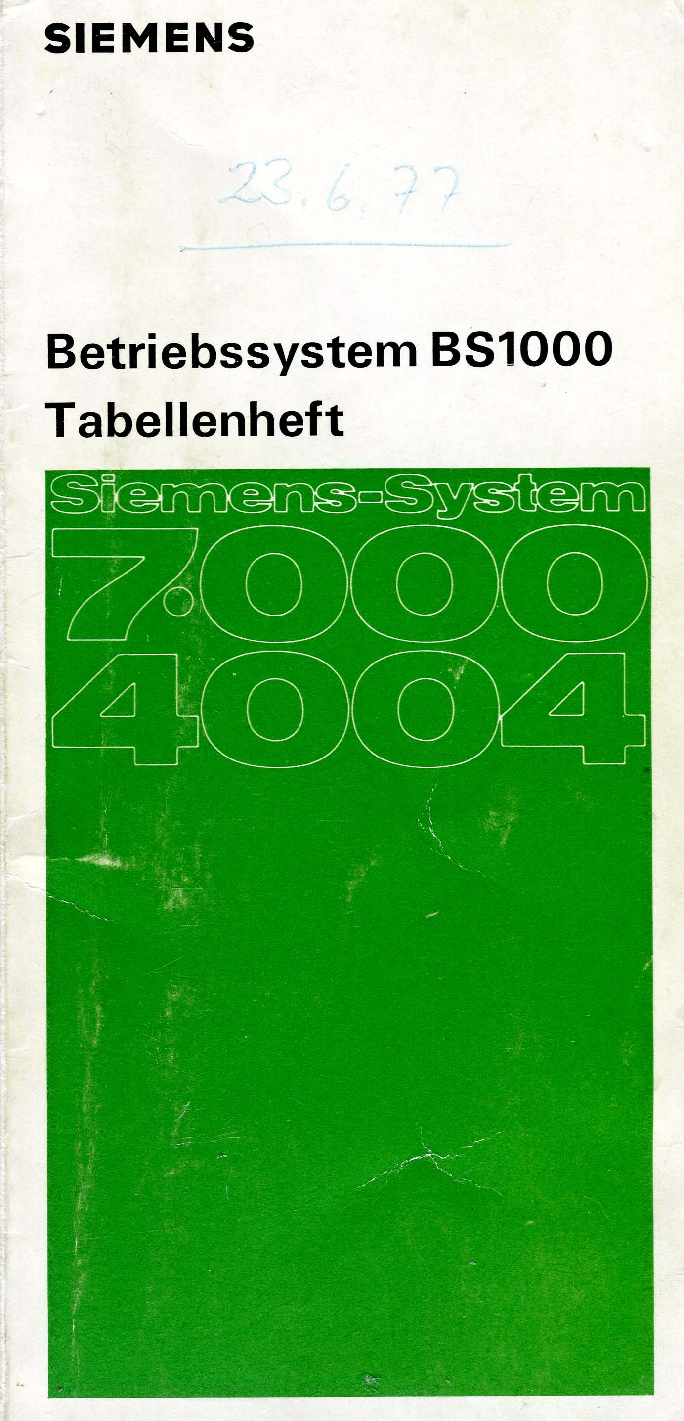 Tabellenheft BS1000 V1.4 1977
