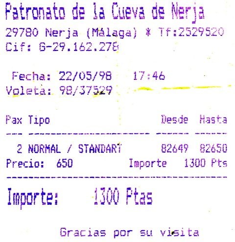 Ticket Cueva Nerja